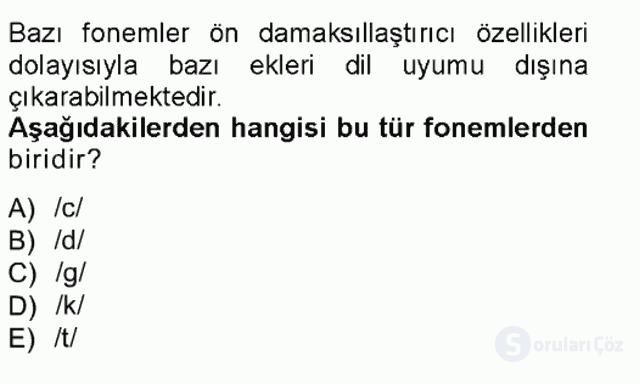XVI-XIX. Yüzyıllar Türk Dili Tek Ders Sınavı 6. Soru