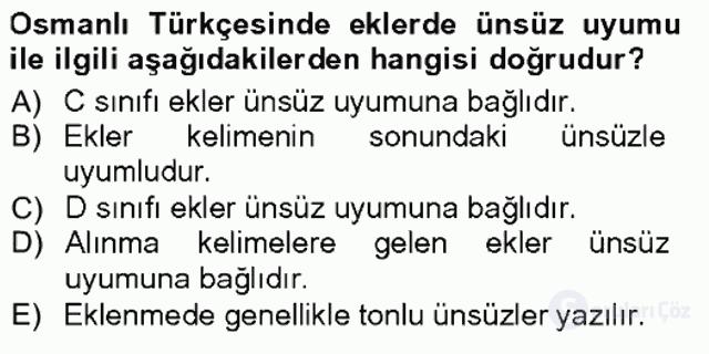 XVI-XIX. Yüzyıllar Türk Dili Tek Ders Sınavı 8. Soru