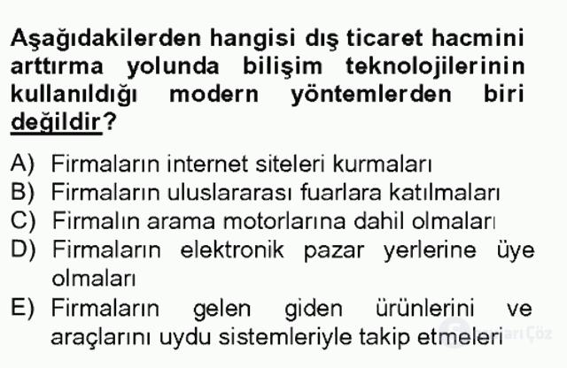 Dış Ticarette Bilgisayar Uygulamaları Tek Ders Sınavı 2. Soru