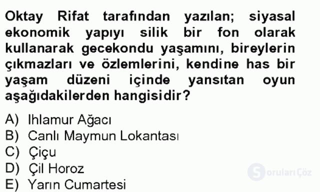 Türk Tiyatrosu Tek Ders Sınavı 14. Soru
