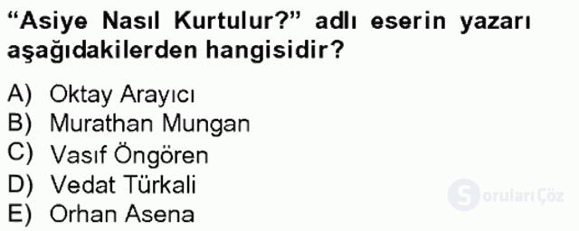 Türk Tiyatrosu Tek Ders Sınavı 17. Soru