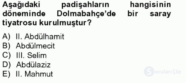 Türk Tiyatrosu Tek Ders Sınavı 8. Soru