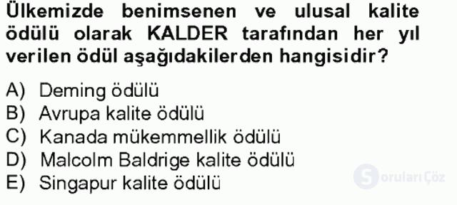 Konaklama Hizmetlerinde Kalite Yönetimi Tek Ders Sınavı 18. Soru