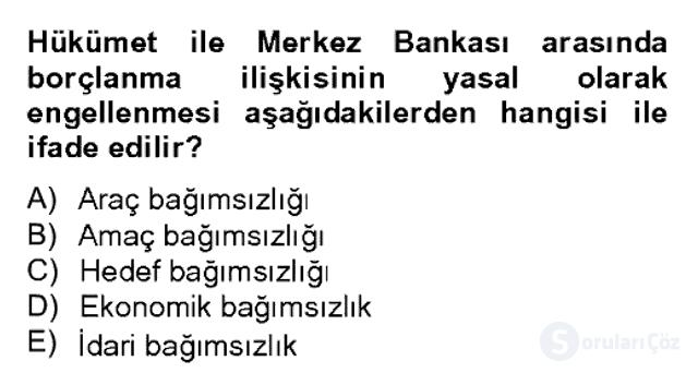 Para Politikası Bahar Dönemi Final 12. Soru