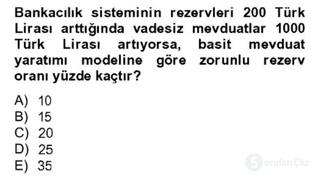 Para Politikası Bahar Dönemi Final 2. Soru