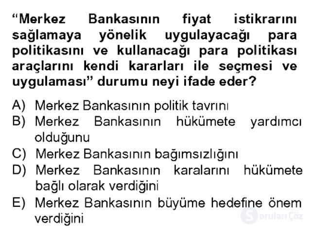 Para Politikası Bahar Dönemi Final 5. Soru