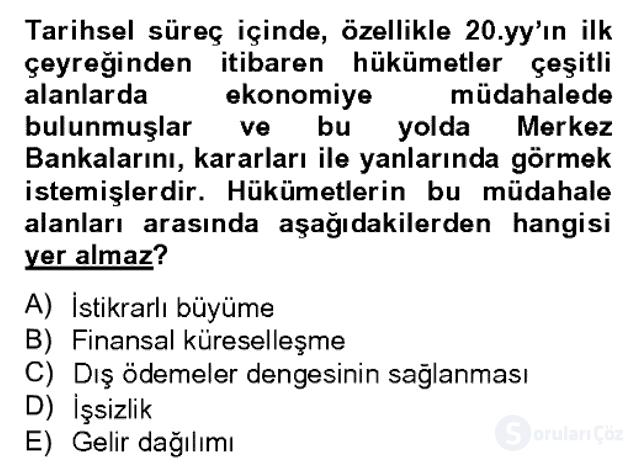Para Politikası Bahar Dönemi Final 6. Soru