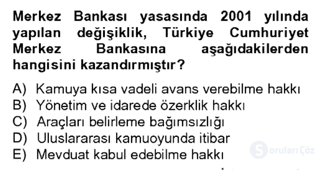 Para Politikası Bahar Dönemi Final 7. Soru