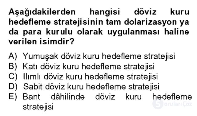 Para Politikası Bahar Dönemi Final 8. Soru