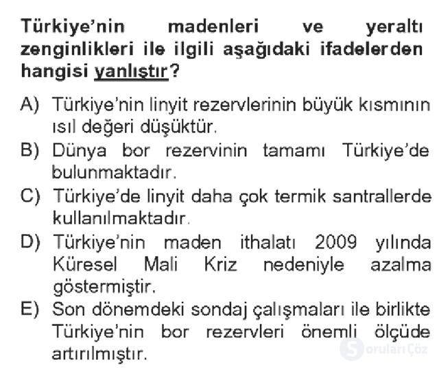 Türkiye Ekonomisi Bahar Dönemi Final 1. Soru