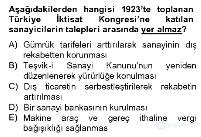 Türkiye Ekonomisi Bahar Dönemi Final 11. Soru