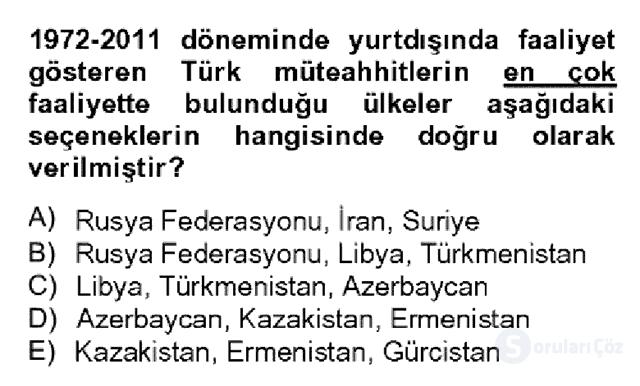 Türkiye Ekonomisi Bahar Dönemi Final 13. Soru