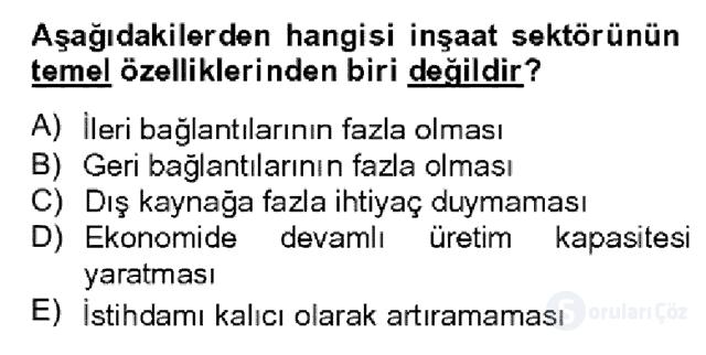 Türkiye Ekonomisi Bahar Dönemi Final 14. Soru