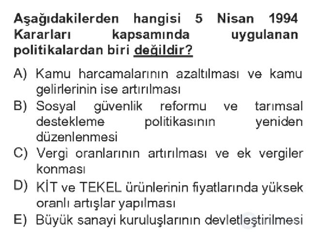 Türkiye Ekonomisi Bahar Dönemi Final 16. Soru