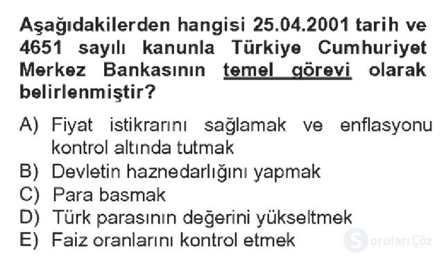 Türkiye Ekonomisi Bahar Dönemi Final 17. Soru