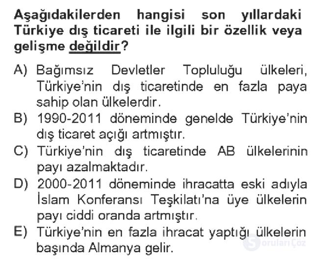 Türkiye Ekonomisi Bahar Dönemi Final 18. Soru