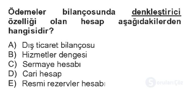 Türkiye Ekonomisi Bahar Dönemi Final 19. Soru