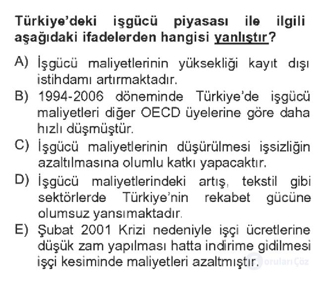 Türkiye Ekonomisi Bahar Dönemi Final 2. Soru