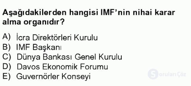 Uluslararası Örgütler Tek Ders Sınavı 10. Soru