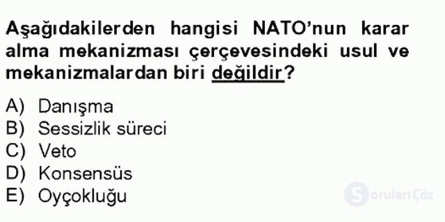 Uluslararası Örgütler Tek Ders Sınavı 6. Soru