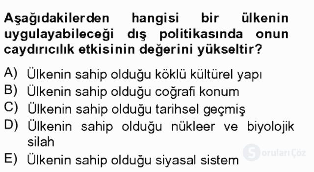 Dış Politika Analizi Tek Ders Sınavı 10. Soru
