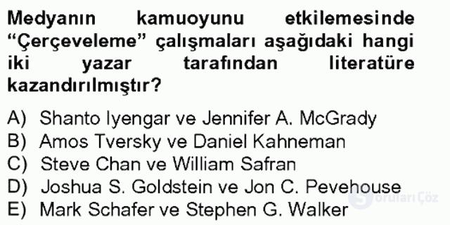 Dış Politika Analizi Tek Ders Sınavı 15. Soru