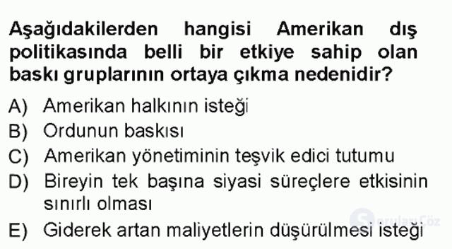 Amerikan Dış Politikası Tek Ders Sınavı 4. Soru