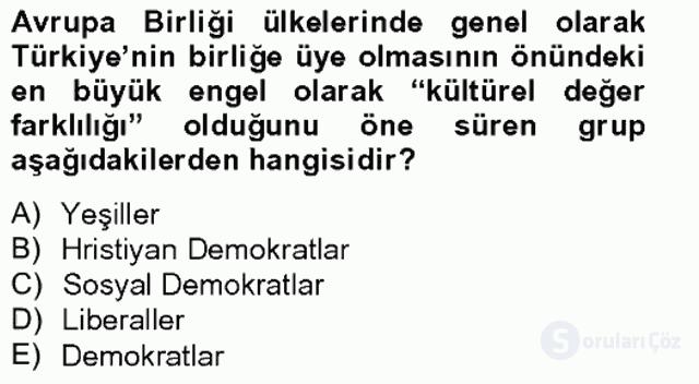 Türk Dış Politikası II Tek Ders Sınavı 10. Soru