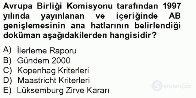Türk Dış Politikası II Tek Ders Sınavı 11. Soru