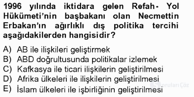 Türk Dış Politikası II Tek Ders Sınavı 12. Soru