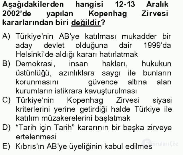 Türk Dış Politikası II Tek Ders Sınavı 15. Soru