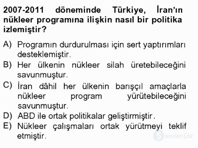 Türk Dış Politikası II Tek Ders Sınavı 17. Soru