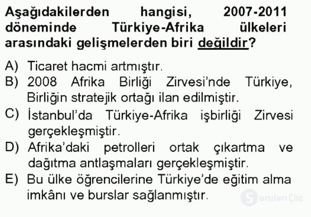 Türk Dış Politikası II Tek Ders Sınavı 18. Soru