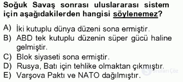 Türk Dış Politikası II Tek Ders Sınavı 2. Soru