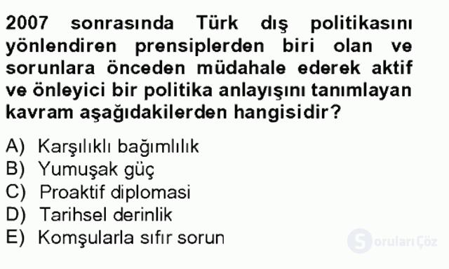 Türk Dış Politikası II Tek Ders Sınavı 20. Soru