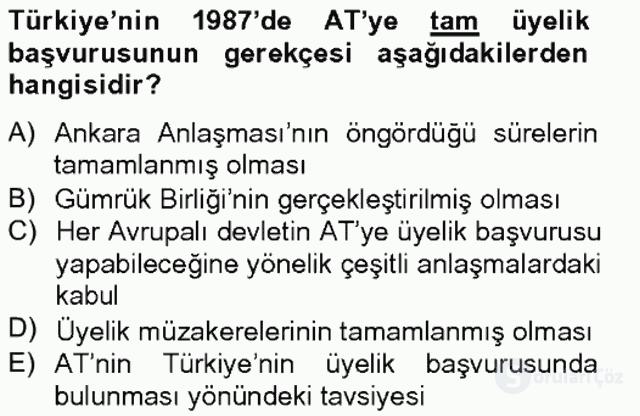 Türk Dış Politikası II Tek Ders Sınavı 6. Soru
