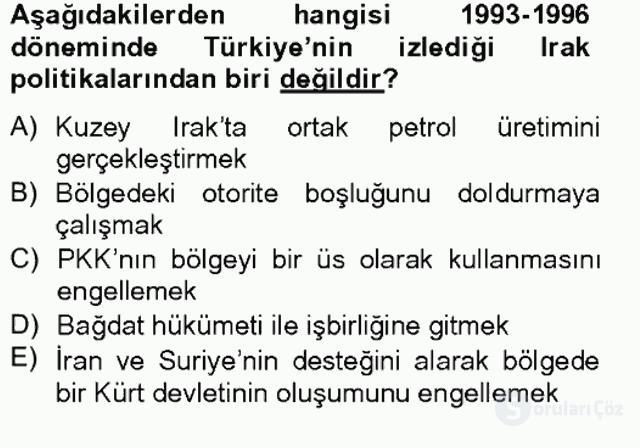 Türk Dış Politikası II Tek Ders Sınavı 9. Soru