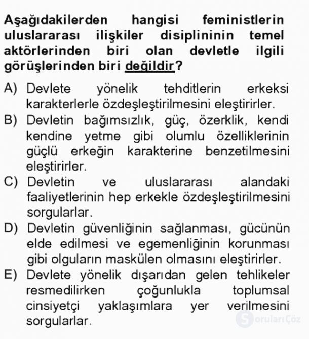 Uluslararası İlişkiler Kuramları II Tek Ders Sınavı 13. Soru