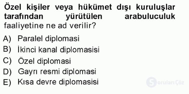 Diplomasi Tarihi Tek Ders Sınavı 13. Soru