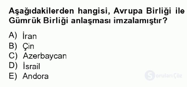 Avrupa Birliği ve Türkiye İlişkileri Bahar Dönemi Final 2. Soru
