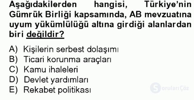 Avrupa Birliği ve Türkiye İlişkileri Bahar Dönemi Final 3. Soru
