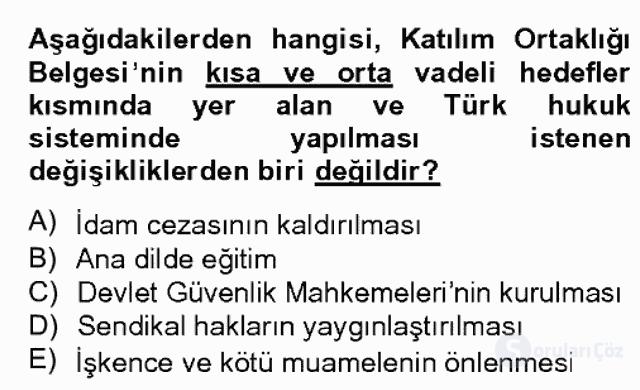 Avrupa Birliği ve Türkiye İlişkileri Bahar Dönemi Final 8. Soru