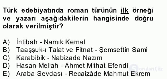 Batı Edebiyatında Akımlar II Bahar Dönemi Final 17. Soru