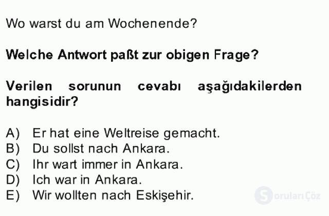 Almanca II Bahar Dönemi Final 23. Soru