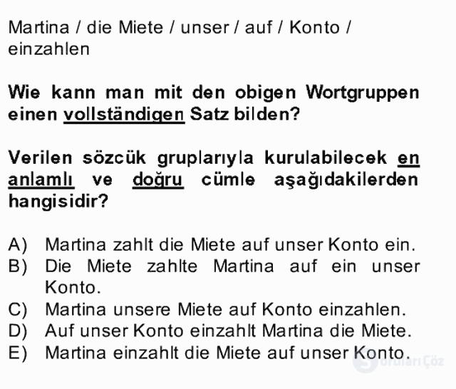 Almanca II Bahar Dönemi Final 4. Soru