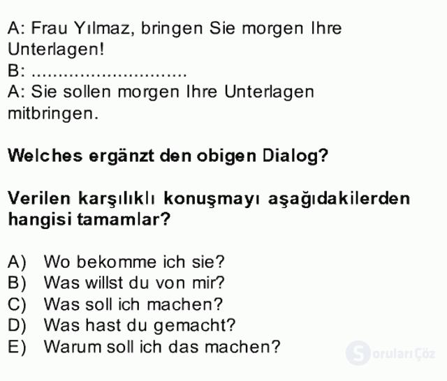 Almanca II Bahar Dönemi Final 1. Soru
