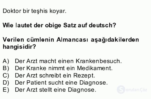 Almanca II Bahar Dönemi Final 22. Soru
