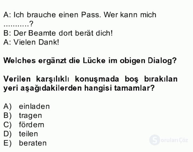 Almanca II Bahar Dönemi Final 30. Soru
