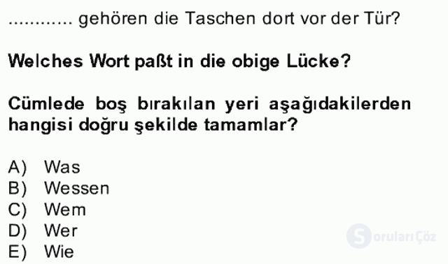 Almanca II Bahar Dönemi Final 6. Soru