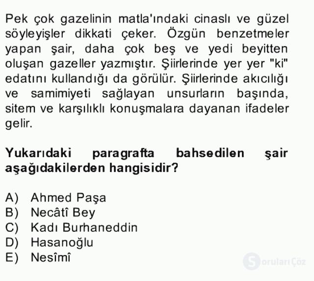 XIV-XV. Yüzyıllar Türk Edebiyatı Bahar Dönemi Final 1. Soru